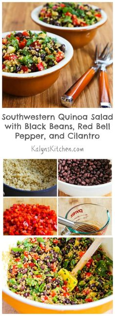 This Southwestern Quinoa Salad with Black Beans, Red Bell Pepper, and Cilantro is one of the best things I've ever made with quinoa, partly because of the delicious lime-Ancho dressing used here. This salad would be perfect for Cinco de Mayo, or any summer party where you want a salad that will wow people. [from KalynsKitchen.com]