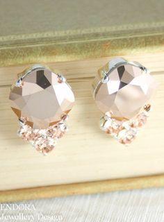 Crystal earrings Rose gold Swarovski crystal