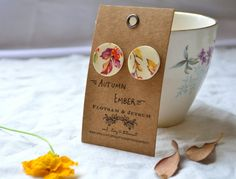Cream porcelain earrings; nature earrings; ethically made; ceramic earrings.  Recycled from broken china