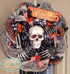 Lighted Sign, Spooky, Scary Halloween Skull and Bones Deco Mesh Wreath by Jennifer Boyd Designs.  facebook.com/JenniferBoydDesigns JenniferBoydDesigns.etsy.com