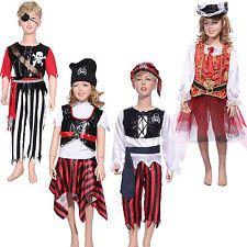 Pirate Kids Costume + Hat Book Week Boys Girls Halloween Fancy Dress Childs
