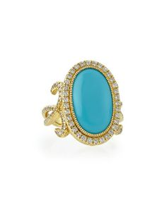 Oval Turquoise Florentine Ring with Diamonds by JudeFrances Jewelry at Neiman Marcus.