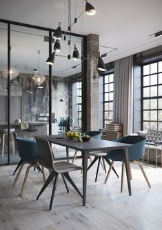 Industrial loft with glass dividing wall