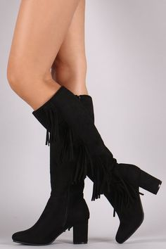 These chic fringe design, and wrapped block heel. Finished with a cushioned insole, smooth lining, and full-length side zipper closure for easy on/off. Mid Calf Boots, Knee High Boots, Side Fringe, Block Heels, Chic, Shoes, Fashion, Shabby Chic, Moda