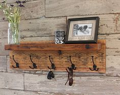 Rustic Entryway Coat Rack - Distressed with Triple Hooks and Shelf