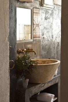 Bowl rústico como lavabo
