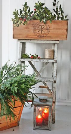 simple greens ~ HoLIDay touch... LoVe the Ladder, Wood Box, Lantern