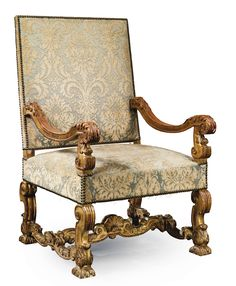 French Louis XIII baroque chair with detailed carvings