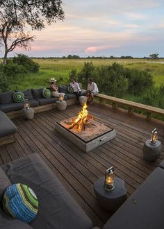 Vumbura Plains Camp - a tried and perfected Africa safari experience. This luxuriously chic camp/lodge, situated in a p. Backyard Games, Backyard Patio, Backyard Landscaping, Camping Fire Pit, Safari, Fire Pit Seating, Seating Areas, Okavango Delta, My Dream Home