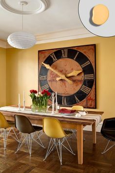 dining room with yellow walls, oversized wall clock, pendant light, ceiling medallion, this old house editor Scott omelianuk colorful rowhou. Foyer Colors, Wall Colors, Color Walls, New Jersey, Playroom Paint Colors, Yellow Dining Room, Dining Rooms, Yellow Walls, Yellow Rooms