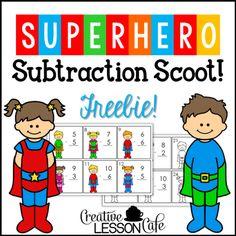 FREEBIE! Superhero Subtraction Scoot!