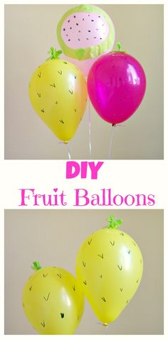 DIY Fruit Balloons! Celebrate summer by making these simple DIY pineapple, strawberry, and watermelon balloons.