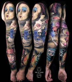 Alice In Wonderland full sleeve Full Sleeves Design, Full Sleeve Tattoo Design, Full Sleeve Tattoos, Sleeve Tattoos For Women, Alice In Wonderland Tattoo Sleeve, Tattoo Perna, Tattoo Videos, Tattoo Designs For Women, Mandala Tattoo