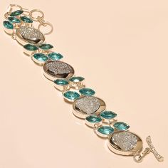 SILVER DRUZY WITH FACETED SWISS BLUE TOPAZ AWESOME - 925 SILVER BRACELET  #Handmade