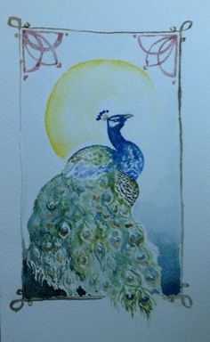 Peacock aquarell, model from: http://chronoperates.deviantart.com/art/Art-Nouveau-Peacock-272202614