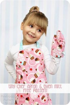 Sew this darling apron and toy oven mitt for your tiny chef. This apron is quick and easy to make and is the perfect size for toddlers up to 2 years, but c