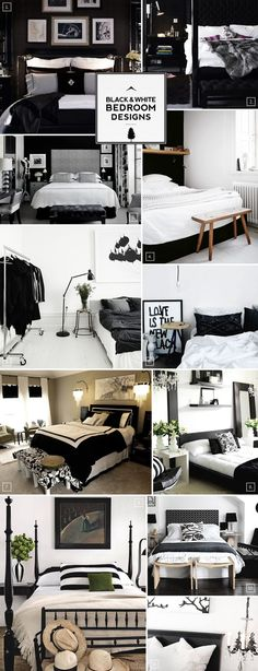 Black and white bedroom design ideas..love the close rack idea for my green/black room