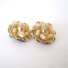 50 OFF SALE // 1950's Cream Beaded Flower Clipon by OllieOtson, $6.00