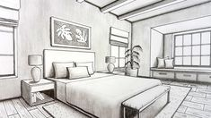 Drawing A Bed room in Two Level Perspective 1 Point Perspective Drawing, Perspective Art, One Point Perspective Room, Drawing Interior, Interior Design Sketches, Interior Paint, Drawing Heart, Interiores Shabby Chic, Bedroom Drawing