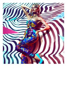 Color Fantastic – Greg Kadel captures Constance Jablonski in bold spring prints and patterns for a high gloss shoot featured in Numéro #132. Set against various backdrops, stylist Bill Mullen selects colorful looks from Roberto Cavalli, Salvatore Ferragamo, Chanel and many more with a lingerie twist. A slicked back coif by Raymond McLaren and nontraditional lipstick choices by Francelle Daly-Poiblanc complete the flamboyant outfits.