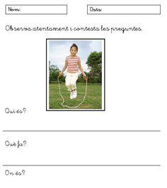 Fitxes per ajudar als alumnes de primer curs de cicle inicial de primària a escriure frases senzilles. Totes les fitxes tenen la mateixa estructura i els nens, a partir de l'obse...