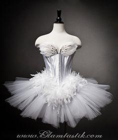 Size Large White Swan Ballet costume Burlesque tutu by Glamtastik, $365.00
