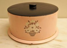 vintage pink kitchen 1950s | 1950s Vintage Cake Carrier Decorware Pink and Black with White Flowers