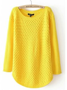 yellow pullover long sleeve round neck cotton blends sweater  $42.99  www.clothesway.net