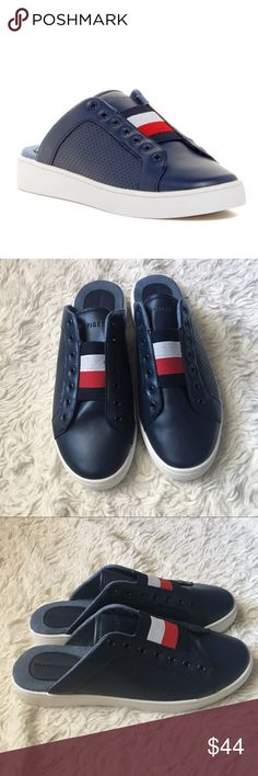 TOMMY HILFIGER ✨NWOT✨Sneaker Slides Navy Faux-leather sneaker slip-on slides with Red white & blue Tommy Logo on Top. Brand new; but were out for ppl to try on ✨OFFERS WELCOME✨ Tommy Hilfiger Shoes Sneakers