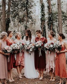 29 Gorgeous Wedding Colors For 2019 With Bridesmaid Dresses - 2020 Fashions Woman's and Man's Trends 2020 Jewelry trends Bridesmaid Dresses Different Colors, Spring Bridesmaid Dresses, Mismatched Bridesmaid Dresses, Wedding Bridesmaids, Bridesmaid Colours, Fall Wedding, Dream Wedding, Arte Disney, Wedding Colors