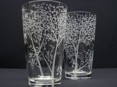 2  Pint Glasses Hand Engraved . 'Branches and by daydreemdesigns, $48.00
