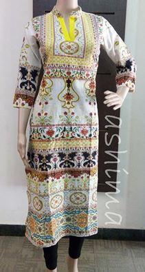 Code:0403160 - Printed Cotton kurti Price INR:1290/-