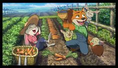 ジュディとニック/なめこ鱒 #nick #judy #zootopia #zootropolis #farming #fanart #fan #art #farm