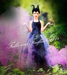 Maleficent 3 Piece Tutu Costume, comes with Skirt, Horns Headpiece, bodysuit in Baby to Size 12 Halloween, Birthdays, Dress-Up, Photo Shoots