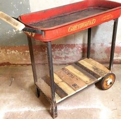 Little red wagon repurpose. i think i woul wrap the handle with rope or leather cord.