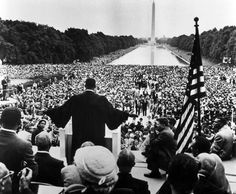 Hulton Archive / Getty Images file ... King speaks to thousands who had made the Prayer Pilgrimage for Freedom to Washington, D.C., by the Reflecting Pool on the National Mall on May 17, 1957. The crowd was estimated at 25,000, making the pilgrimage the largest civil rights demonstration to date.