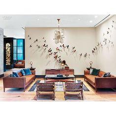 The lounge area of Hotel Van Zandt in Austin, Texas, with Clark Chandelier! One more successful and beautiful hotel project. #lightingdesign #brasschandeliers #interiordesign #modernlamps #midcenturymodern #luxurylighting #hoteldesign #hoteldecor | SnapWidget
