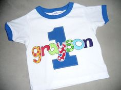 Infant/Toddler boys First 1st Birthday Personalized Blue Ringer Tee Shirt 18m
