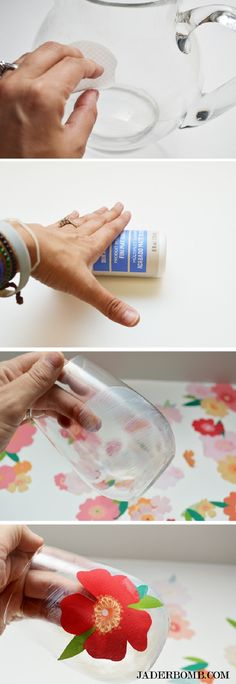 DIY Decoupage on Glass – Pitchers and Glasses Tutorial