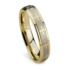 Women Wedding Band, Gold Plated Tungsten Ring, High Polish, Crosses, 5MM - Available Sizes: 5-8, Half Sizes Top Value Jewelry. $28.99. Fit: Comfort Fit; Features: Highly Scratch-resistant, tungsten is four times harder than titanium; Style: High Polish Finish, Gold Plated with Crosses, Flat Top; Width: 5MM
