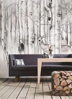 Reh im Wald Tapete Bäume Wand Wandbild Tier von DreamyWall auf Etsy