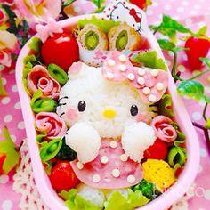 Hello Kitty bento w edamame ham roses Cute Snacks, Cute Food, Bento Kids, Hello Kitty, Cute Bento Boxes, Kawaii Bento, Food Art For Kids, Kawaii Cooking, Bento Recipes