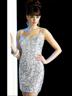 Sheath Short Length White Spaghetti Strap Neck Sequined Cocktail Party Dress-yum!