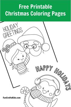 Free Printable Christmas Coloring Pages - Fun Crafts Kids. These can easily be converted into Christmas Greeting Cards toO! Enjoy!