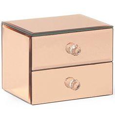 Parent Or rose organiseurs: Rangez vos bijoux avec style ! Une incroyable addition pour les coiffeuses Dispose de deux tiroirs spacieux…