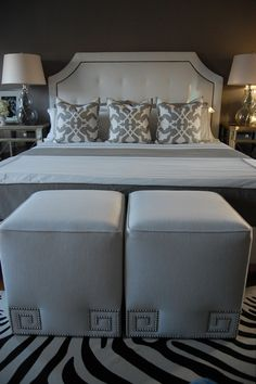 "Ottoman in white linen fabric with Greek key silver nailhead trim and welting, Restoration Hardware Delano Upholstered Bed, Etsy Woodyliana Barbara Barry Poetical Linen Pillows in Grey 22"" sq., Garnet Hill Eileen Fisher Washed Linen Bedding in Earthenware, Target's Fieldcrest Luxury Hotel Duvet Set - Grey, Z Gallerie Borghese Nightstands.    [paint grays]  Benjamin Moore Galveston Gray"