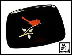 Couroc Cardinal Bird Tray Vintage Black Couroc Bird Tray Mid   Etsy Butterfly Nursery, Butterfly Wall Decor, White Butterfly, Vintage Butterfly, Vintage Birds, Vintage Black, Cardinal Birds, Metal Bar, White Enamel