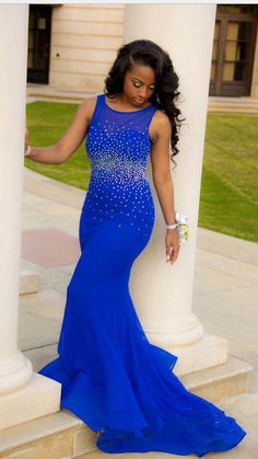 2016 Royal Blue Mermaid Prom Dresses Open Back Beaded Ruffles Train Long Sexy Evening Gowns