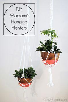 DIY Macramé Hanging Planter - Classy Clutter