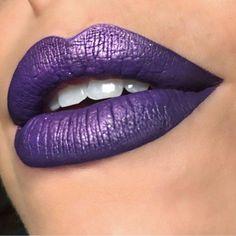 "@sstrazzere used Transylvania on outer corners and 3 Witches Lipstick on center (also applied @katvondbeauty""Danzig"" metal crush eyeshadow over lips) #prettyzombiecosmetics #liquidlipstick #3witches #purplelipstick #transylvania"